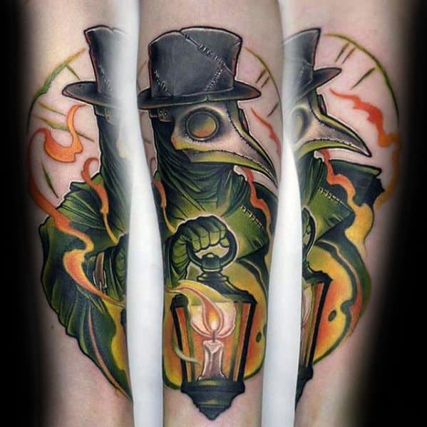 Mens Tattoo On Inner Forearm With Plague Doctor And Lantern Design