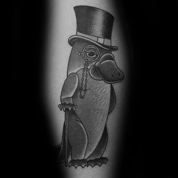 Mens Tattoo On Leg With Platypus Design