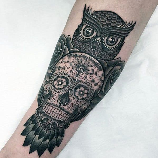 Mens Tattoo Owl Skull Design On Inner Forearm