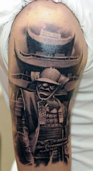 Mens Tattoo Pagoda Design