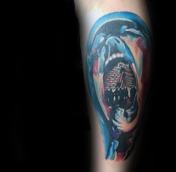 Mens Tattoo Pink Floyd Design On Leg