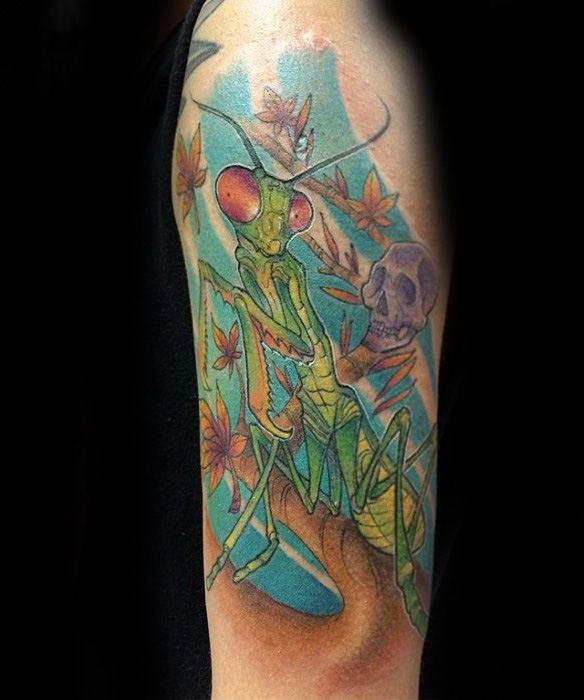 Mens Tattoo Praying Mantis Design