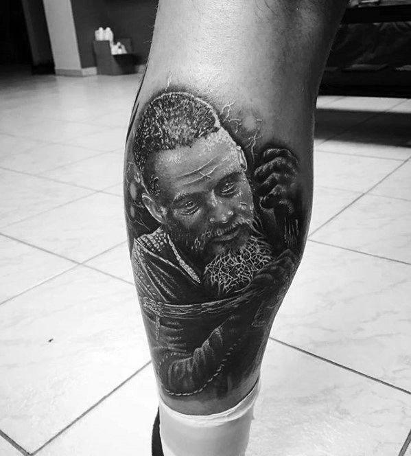 Mens Tattoo Ragnar Design On Leg Calf