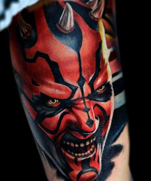 Mens Tattoo Realistic Inner Arm Bicep Darth Maul Design