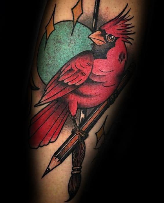 Mens Tattoo Red Cardinal Bird With Pencil Design On Arm