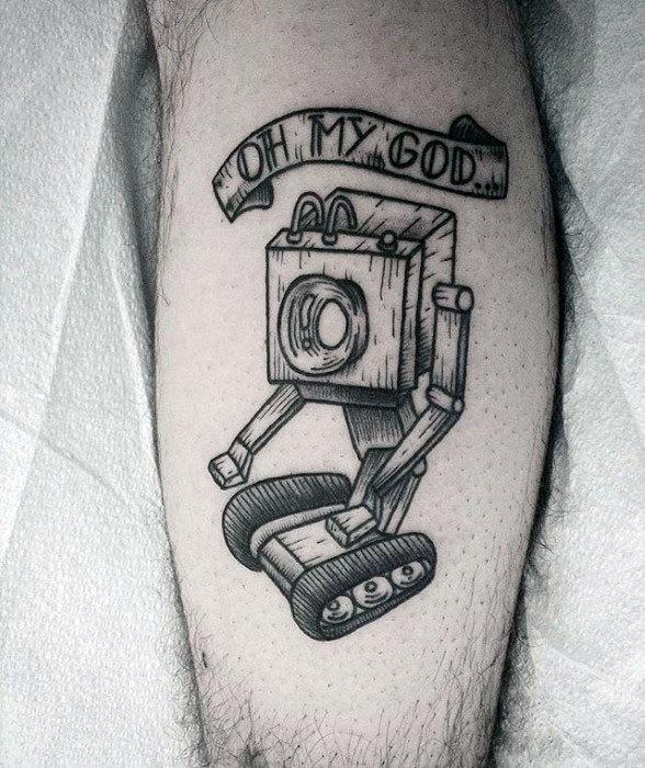 Mens Tattoo Rick And Morty Robot Leg Design