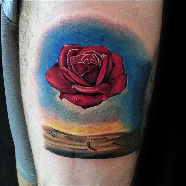 Mens Tattoo Salvador Dali Floating Rose Flower Forearm Design