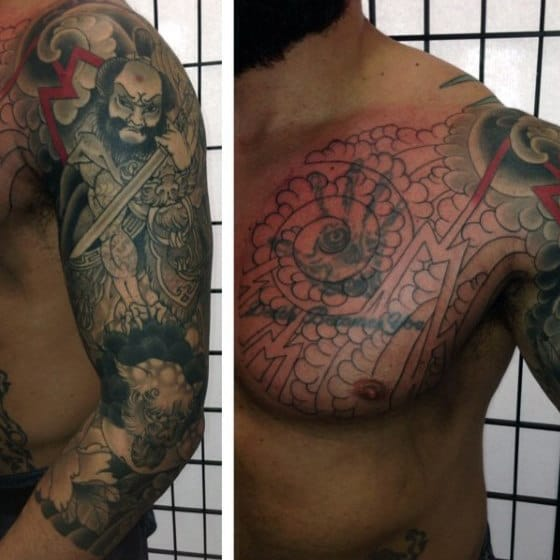 Men's Tattoo Samurai Cover Up Design