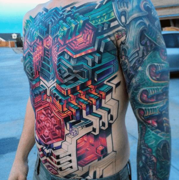 Mens Tattoo Sleeve Bio Mech Abstract Tattoos