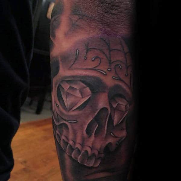 Mens Tattoo Sugar Skull Diamond Eyes Sleeve