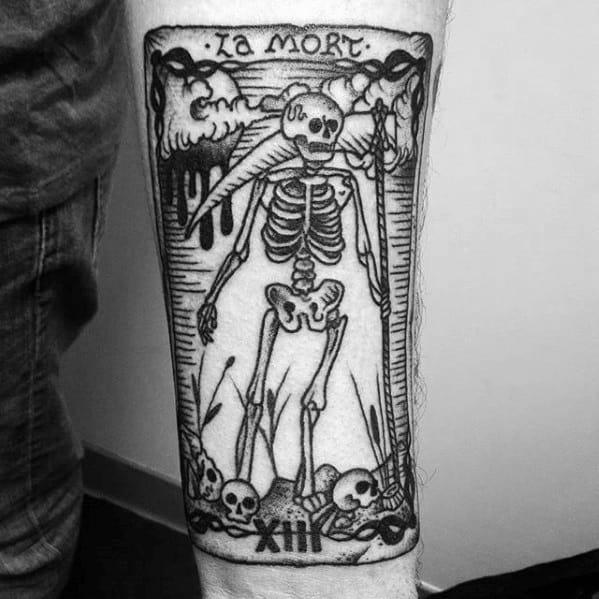 Mens Tattoo Tarot Design On Inner Forearm