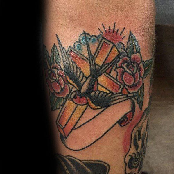 Mens Tattoo Traditional Cross Design