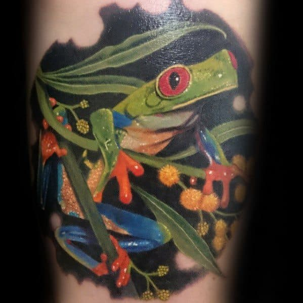 Mens Tattoo Tree Frog Design Arm