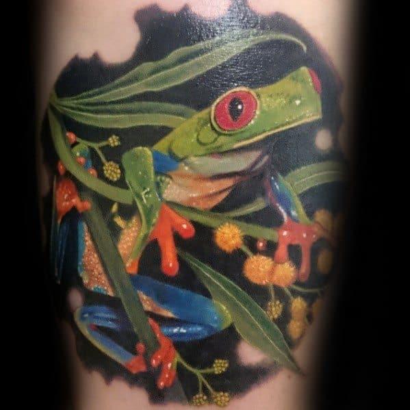 Mens Tattoo Tree Frog Design Arm