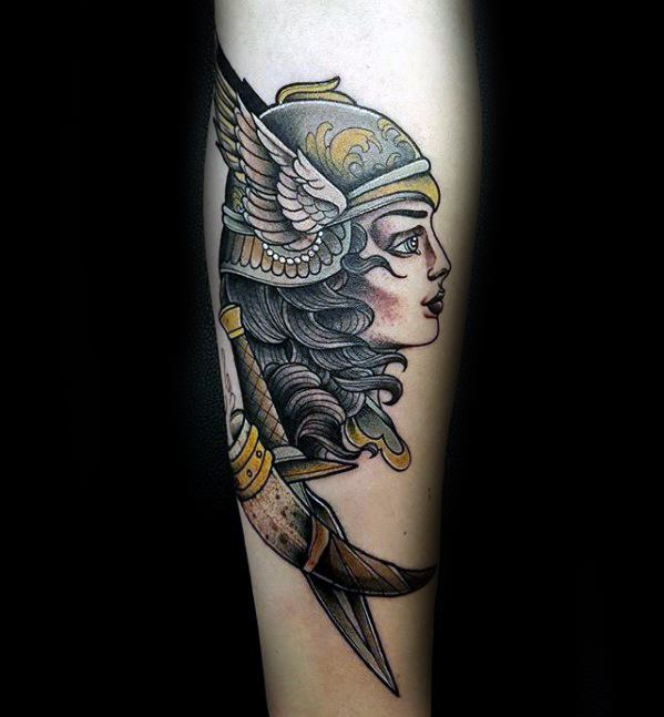 Mens Tattoo Valkyrie Design On Inner Forearm