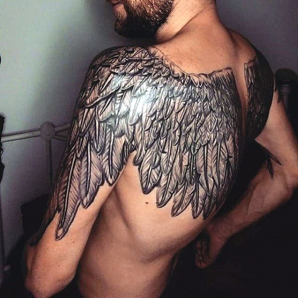 Mens Tattoo Wings Back Both Sides