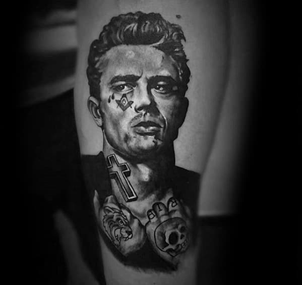 Mens Tattoo With Actor James Dean Design On Leg