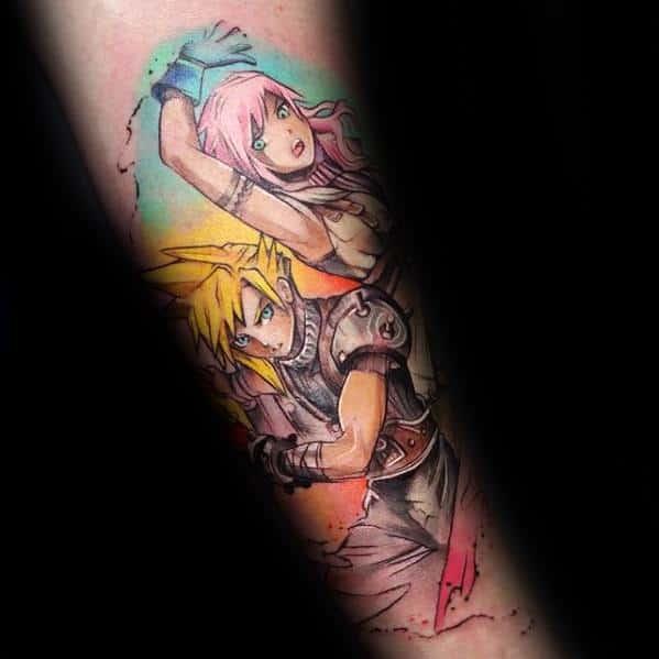 Mens Tattoo With Anime Design Inner Forearm