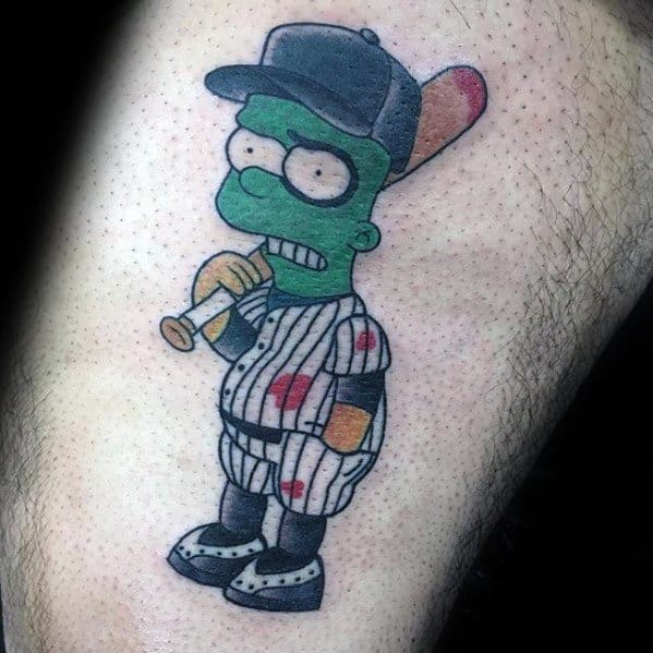 Mens Tattoo With Bart Simpson Baseball Player Design On Thigh