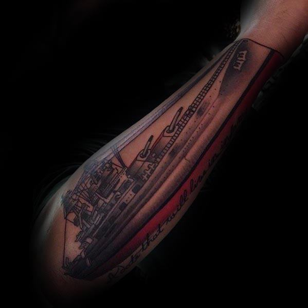 Mens Tattoo With Battleship Design On Outer Forearms