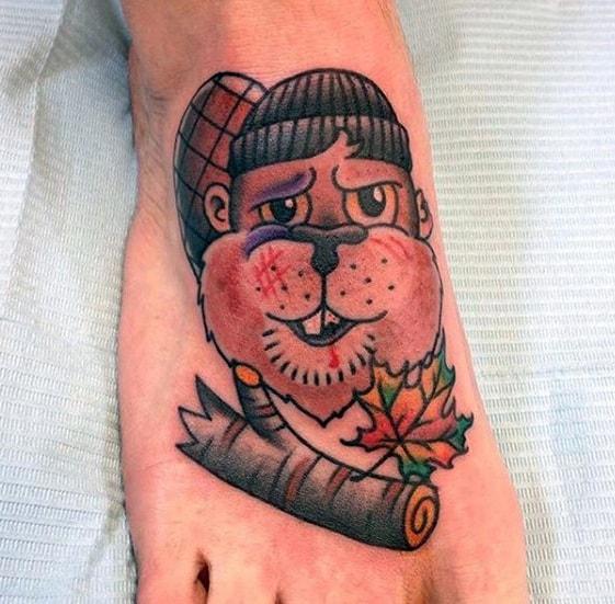 Mens Tattoo With Beaver Design