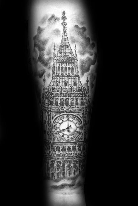 Mens Tattoo With Big Ben Design