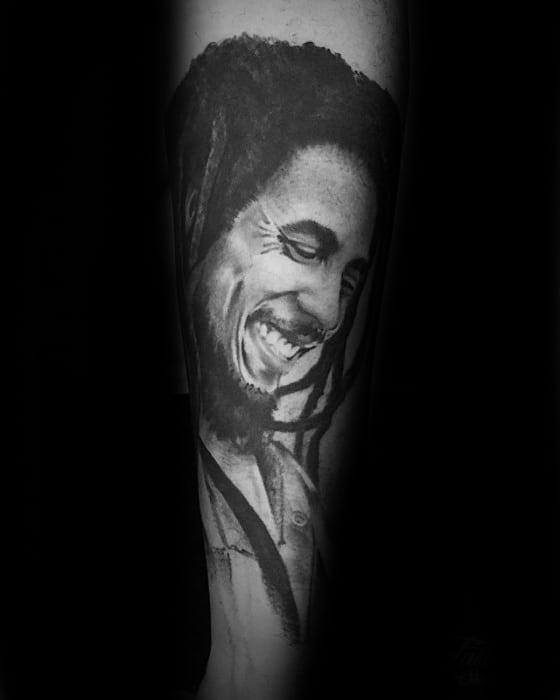 Mens Tattoo With Bob Marley Design