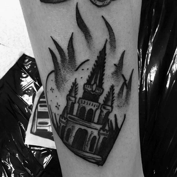 Mens Tattoo With Burning Church Design
