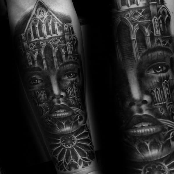 Mens Tattoo With Cathedral Design