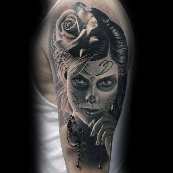 Mens Tattoo With Catrina Design