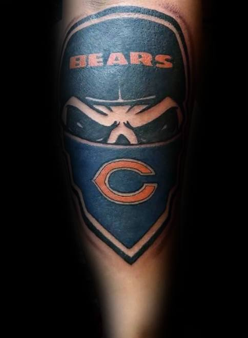 Mens Tattoo With Chicago Bears Design Forearm