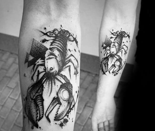 Mens Tattoo With Crawfish Design