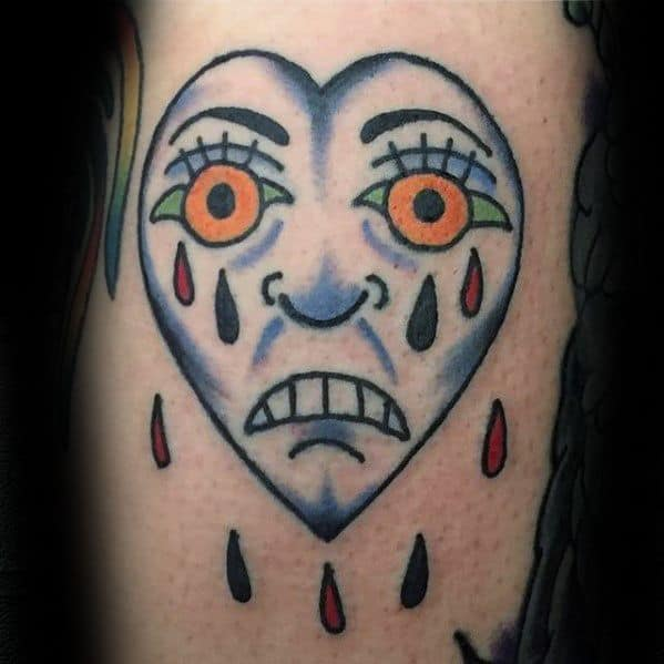 Mens Tattoo With Crying Heart Design