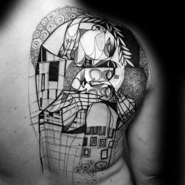 Mens Tattoo With Cubism Design On Half Back