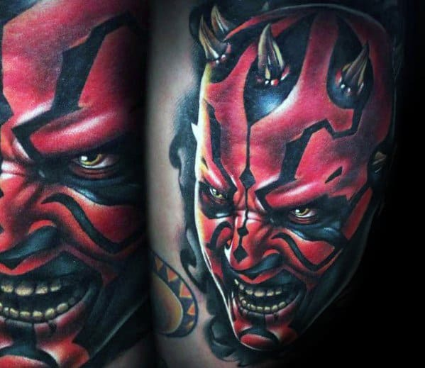 Mens Tattoo With Darth Maul Design
