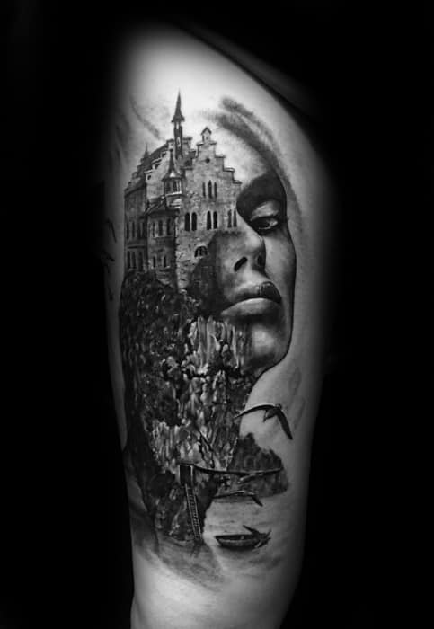 Mens Tattoo With Double Exposure Design