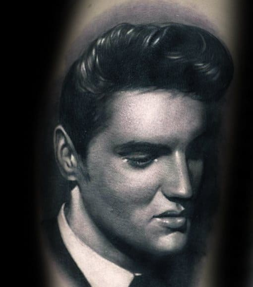 Mens Tattoo With Elvis Portrait Design On Arm