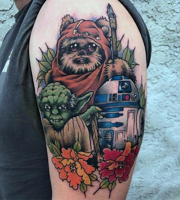 Mens Tattoo With Ewok Design