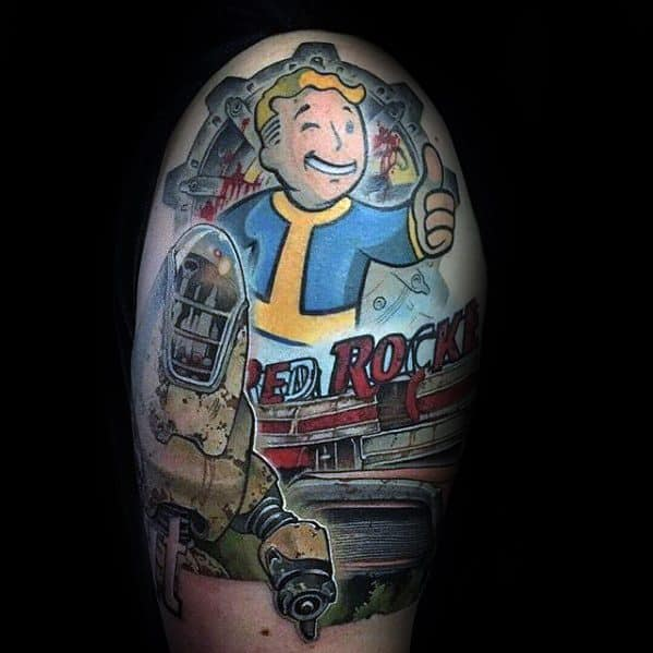 Mens Tattoo With Fallout Design Quarter Sleeve