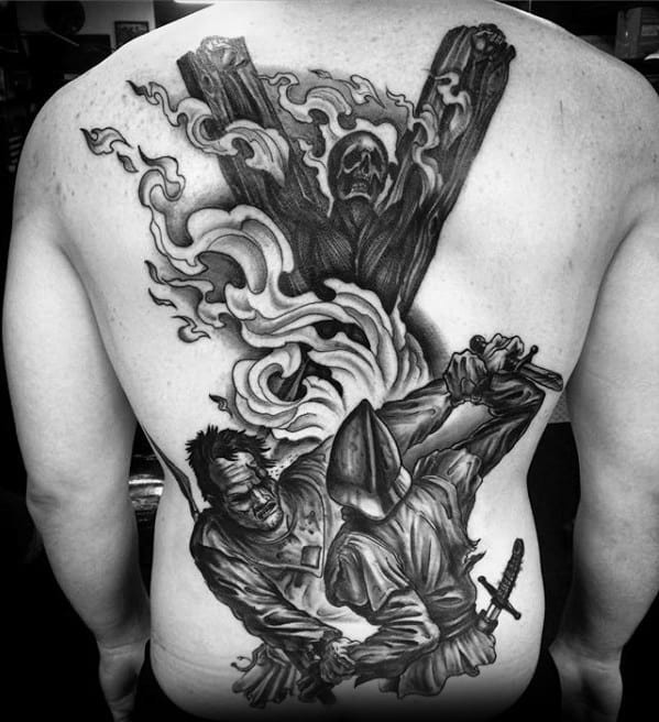 Mens Tattoo With Game Of Thrones Design On Back