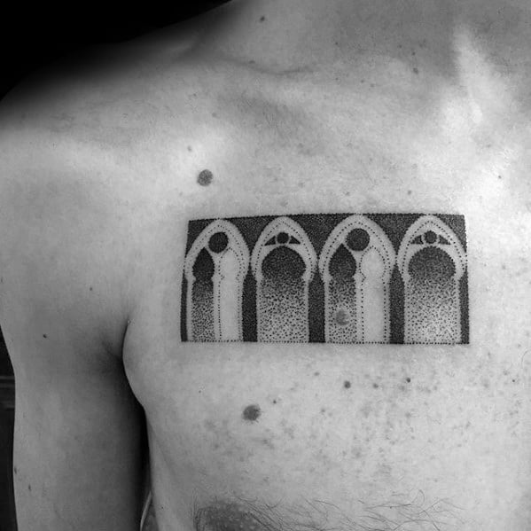 Mens Tattoo With Geometric Church Window Chest Design