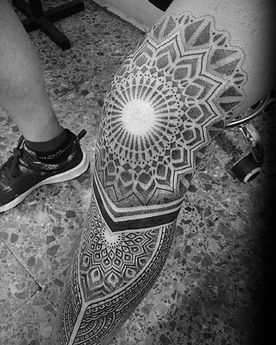 Mens Tattoo With Geometric Leg Sleeve Design