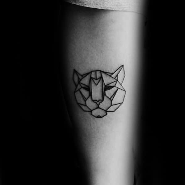 Mens Tattoo With Geometric Tiger Design