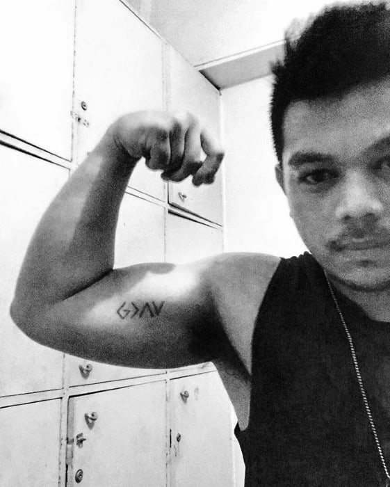 Mens Tattoo With God Is Greater Than The Highs And Lows Religious Bicep Design