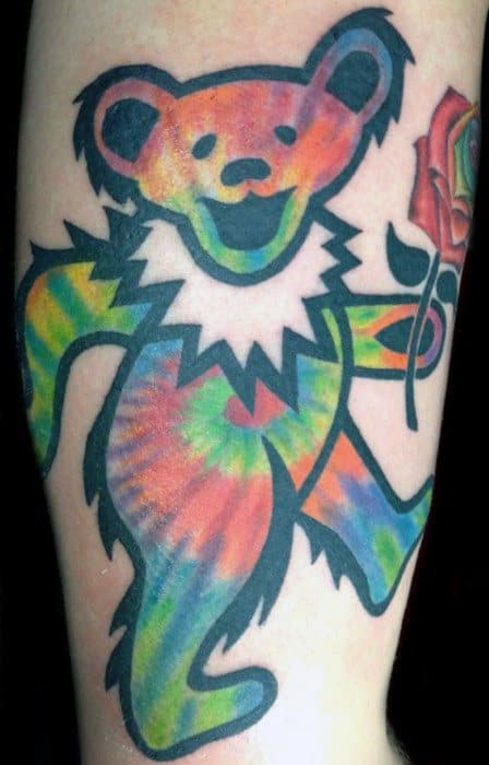 Mens Tattoo With Grateful Dead Bear Colorful Design