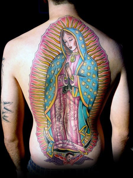 Mens Tattoo With Guadalupe Design On Back