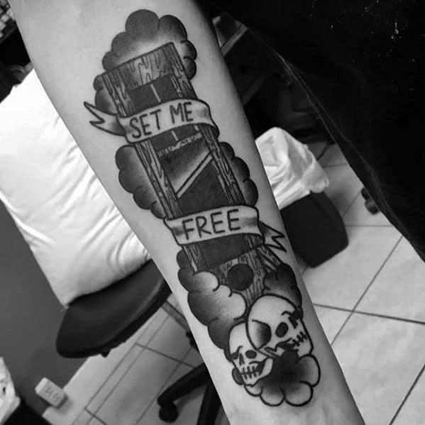Mens Tattoo With Guillotine Design