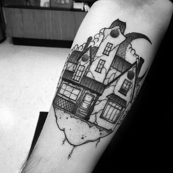 Mens Tattoo With Haunted House Design