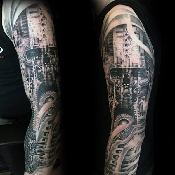 Mens Tattoo With Hr Giger Design