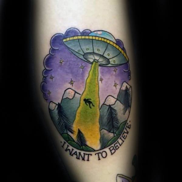 Mens Tattoo With I Want To Believe Design Forearm